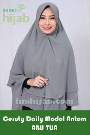 Hijab Ceruty Daily Model Antem Abu Tua