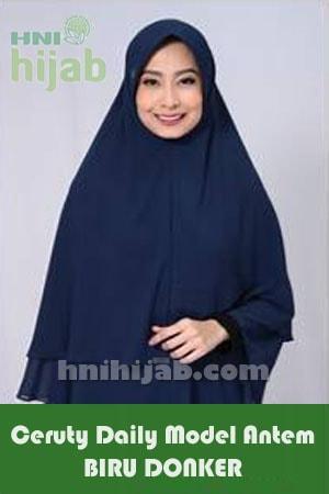 Hijab Ceruty Daily Model Antem Biru Donker