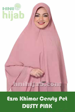 Hijab Ezra Khimar Ceruty Model Pet Dusty Pink